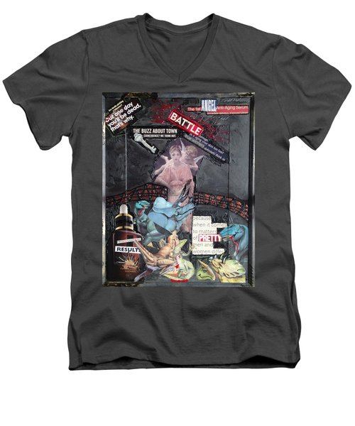 Men's V-Neck T-Shirt featuring the painting Beauty Inside Not A Bottle by Lisa Piper