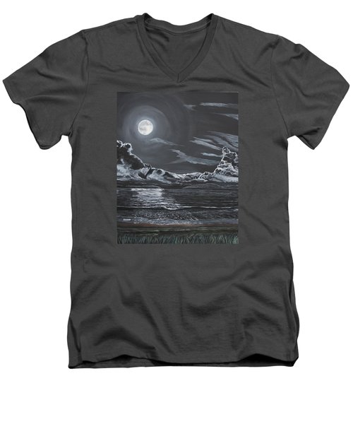 Men's V-Neck T-Shirt featuring the painting Beauty Of The Night by Ian Donley