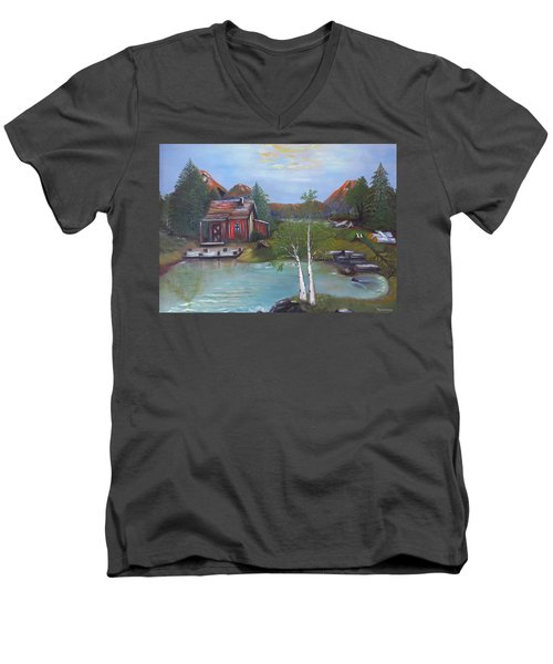 Beaver Pond - Mary Krupa Men's V-Neck T-Shirt by Bernadette Krupa