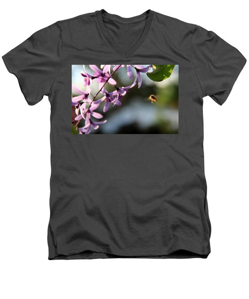 Men's V-Neck T-Shirt featuring the photograph Bee Back by Greg Allore