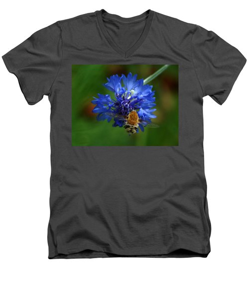 Men's V-Neck T-Shirt featuring the photograph Bee by Leticia Latocki
