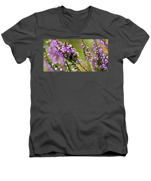 Bee On Heather Men's V-Neck T-Shirt