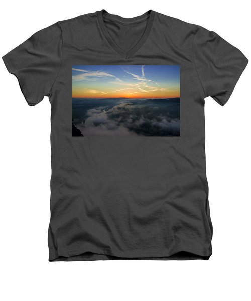 Before Sunrise On The Lilienstein Men's V-Neck T-Shirt