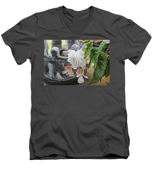 Begonia Men's V-Neck T-Shirt by Denise Romano
