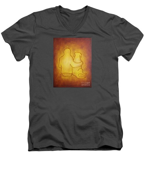 Being There 2 - Dog And Friend Men's V-Neck T-Shirt