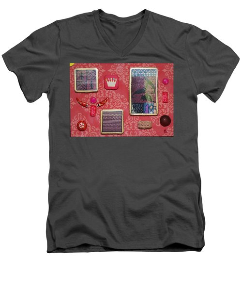 Believe Collage Men's V-Neck T-Shirt