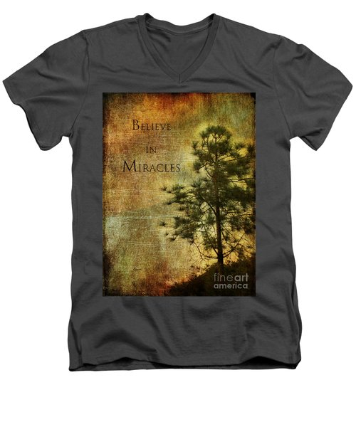 Believe In Miracles - With Text			 Men's V-Neck T-Shirt by Claudia Ellis