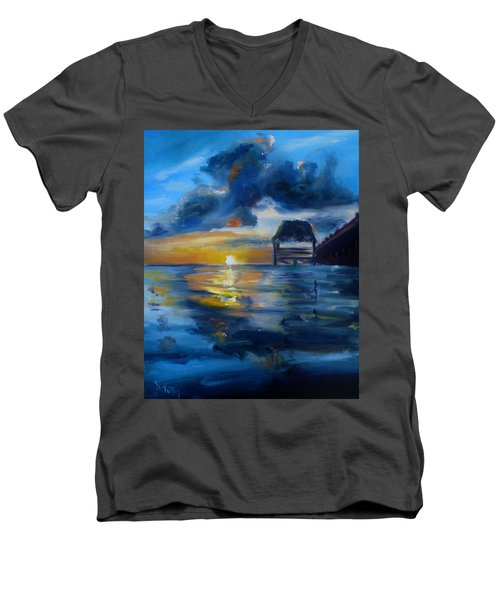 Belizean Sunrise Men's V-Neck T-Shirt by Donna Tuten