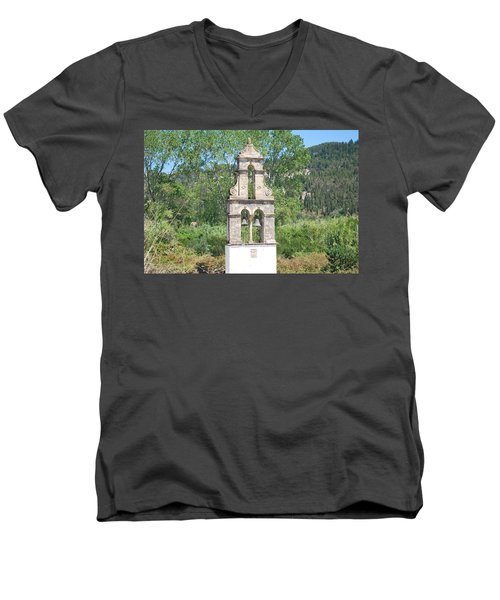 Men's V-Neck T-Shirt featuring the photograph Bell Tower 1584 1 by George Katechis