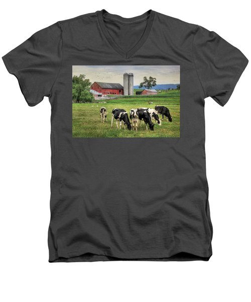 Belleville Cows Men's V-Neck T-Shirt by Lori Deiter