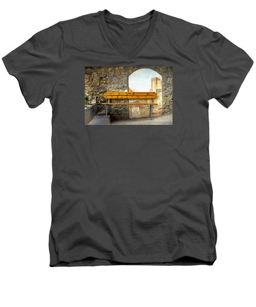 Bench In Riomaggiore Men's V-Neck T-Shirt