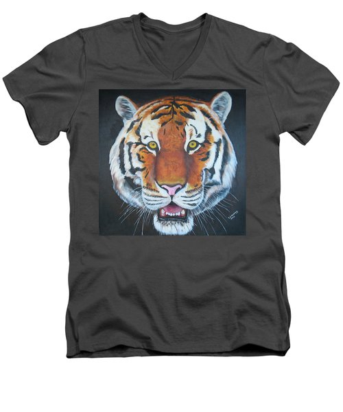 Men's V-Neck T-Shirt featuring the painting Bengal Tiger by Thomas J Herring