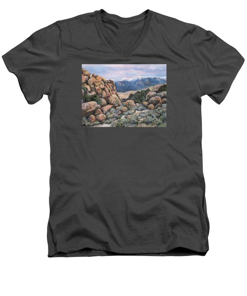 Men's V-Neck T-Shirt featuring the painting Benton by Donna Tucker