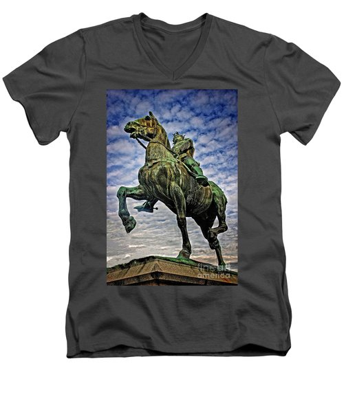 Men's V-Neck T-Shirt featuring the photograph Bertrand Du Guesclin by Elf Evans