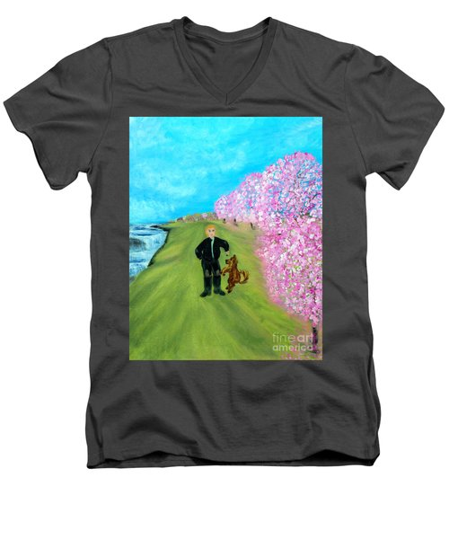 Men's V-Neck T-Shirt featuring the painting Best Friends. Painting. Promotion by Oksana Semenchenko