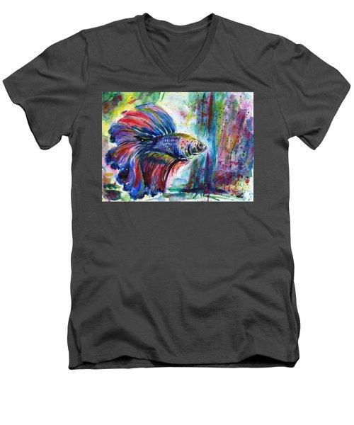 Betta Men's V-Neck T-Shirt by Zaira Dzhaubaeva