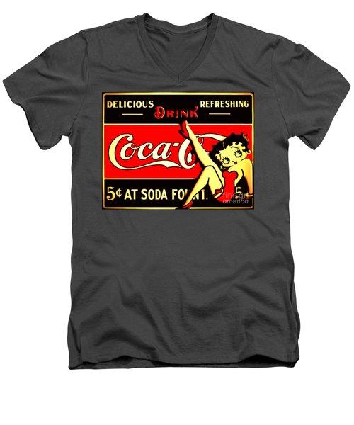 Betty Boop On Coke Men's V-Neck T-Shirt