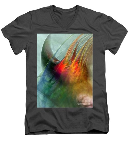 Between Heaven And Earth-abstract Men's V-Neck T-Shirt