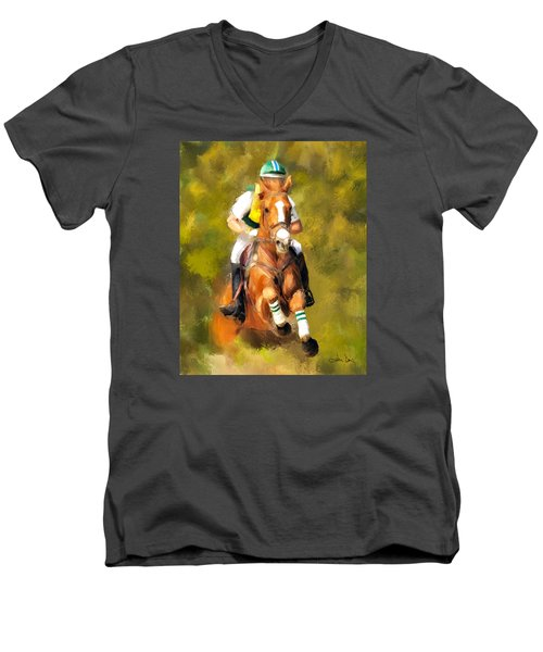 Men's V-Neck T-Shirt featuring the photograph Between The Flags by Joan Davis
