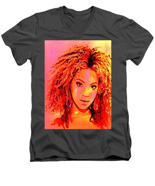 Men's V-Neck T-Shirt featuring the painting Beyonce by Brian Reaves