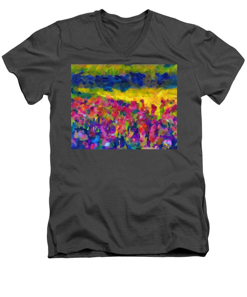 Men's V-Neck T-Shirt featuring the painting Beyond A Simple Love by Joe Misrasi