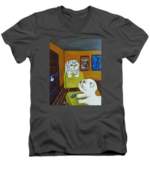 Men's V-Neck T-Shirt featuring the painting Bffs by Victoria Lakes