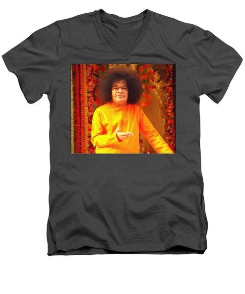 Bhagavan Sri Sathya Sai Baba Men's V-Neck T-Shirt