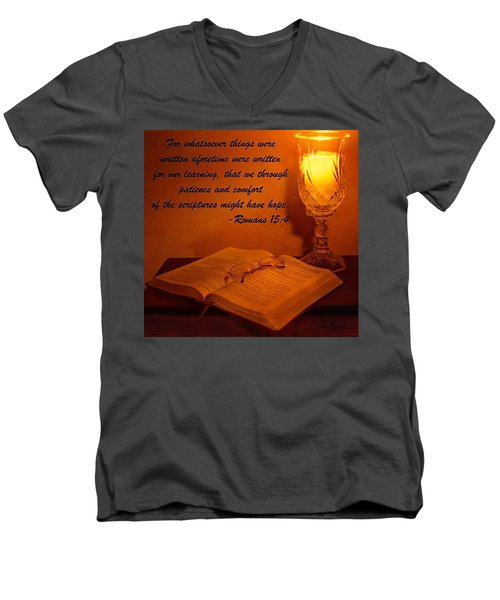 Bible By Candlelight Men's V-Neck T-Shirt