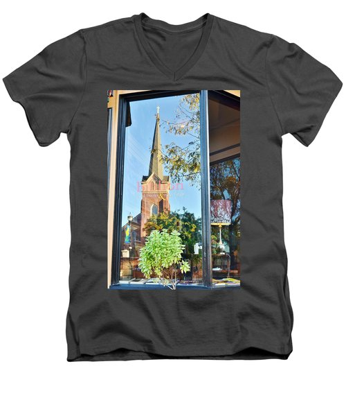 Biblion Used Books Reflections 3 - Lewes Delaware Men's V-Neck T-Shirt