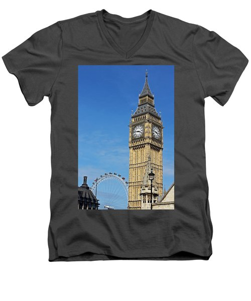 Big Ben And London Eye Men's V-Neck T-Shirt