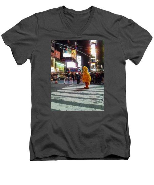Big Bird On Times Square Men's V-Neck T-Shirt