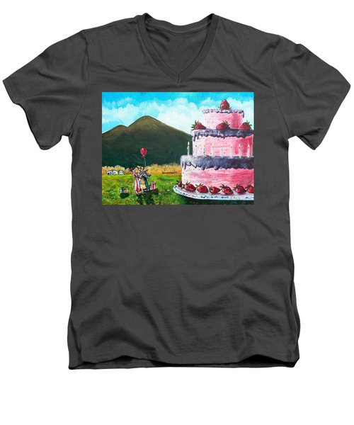 Big Birthday Surprise Men's V-Neck T-Shirt by Shana Rowe Jackson