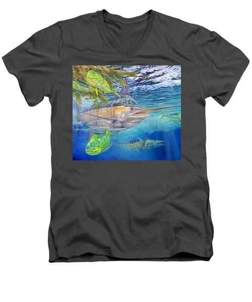 Big Blue Hunting In The Weeds Men's V-Neck T-Shirt