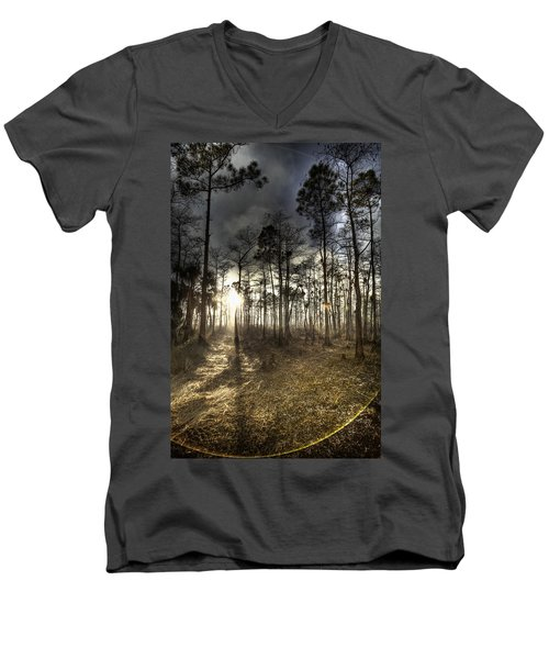 Big Cypress Fire At Sunset Men's V-Neck T-Shirt