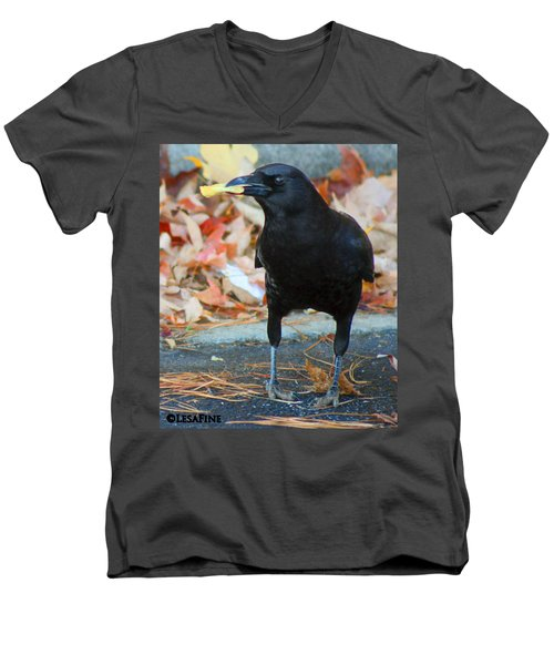 Big Daddy Crow Leaf Picker Men's V-Neck T-Shirt by Lesa Fine