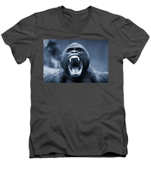 Big Gorilla Yawn Men's V-Neck T-Shirt