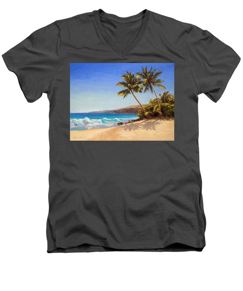 Hawaiian Beach Seascape - Big Island Getaway  Men's V-Neck T-Shirt