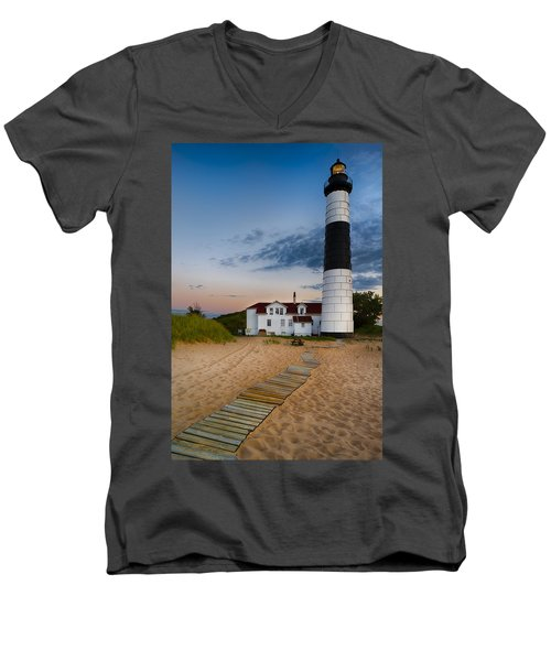 Big Sable Point Lighthouse Men's V-Neck T-Shirt