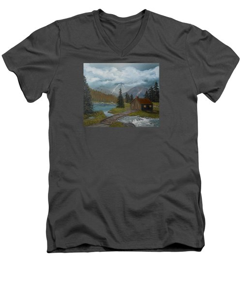 Men's V-Neck T-Shirt featuring the painting Big Storms A Comin' by Sheri Keith