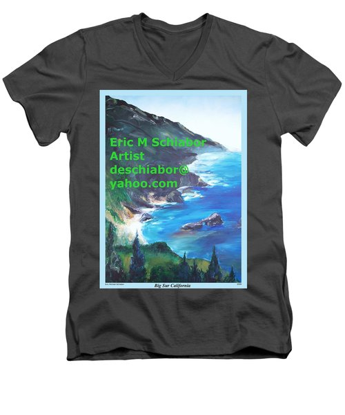 Big Sur Califorina Men's V-Neck T-Shirt by Eric  Schiabor