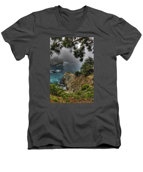 Big Sur Julia Pfeiffer State Park-1 Central California Coast Spring Early Afternoon Men's V-Neck T-Shirt by Michael Mazaika