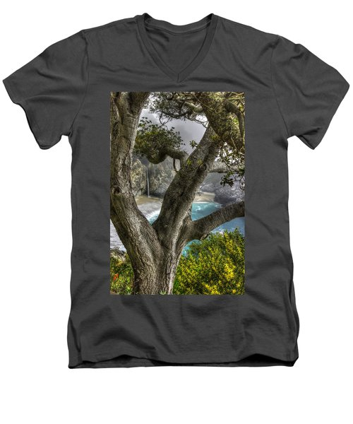 Big Sur Mc Way Falls At Julia Pfeiffer State Park-1 Central California Coast Spring Early Afternoon Men's V-Neck T-Shirt