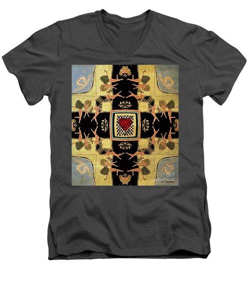 Men's V-Neck T-Shirt featuring the drawing Big Sur Party X 4 by Joseph J Stevens
