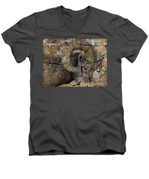 Bighorn Rock Art Men's V-Neck T-Shirt by Steve McKinzie
