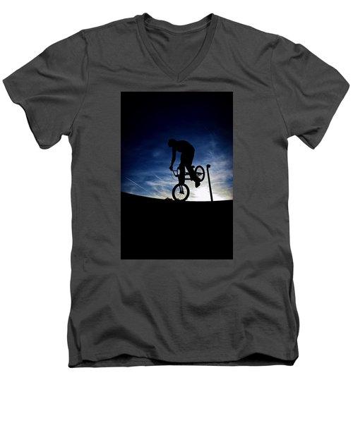 Bike Silhouette Men's V-Neck T-Shirt by Joel Loftus
