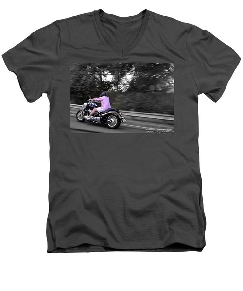 Biker Men's V-Neck T-Shirt by Gandz Photography