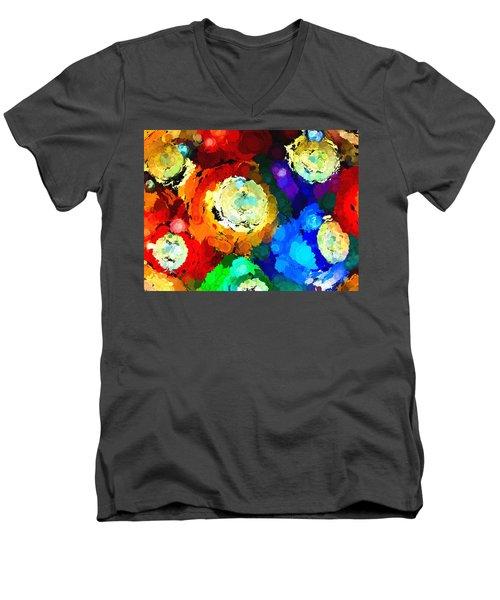 Billiard Balls Abstract Digital Art Men's V-Neck T-Shirt by Vizual Studio
