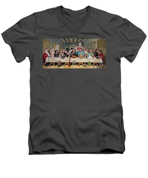 Bills Last Supper Men's V-Neck T-Shirt by Tom Carlton
