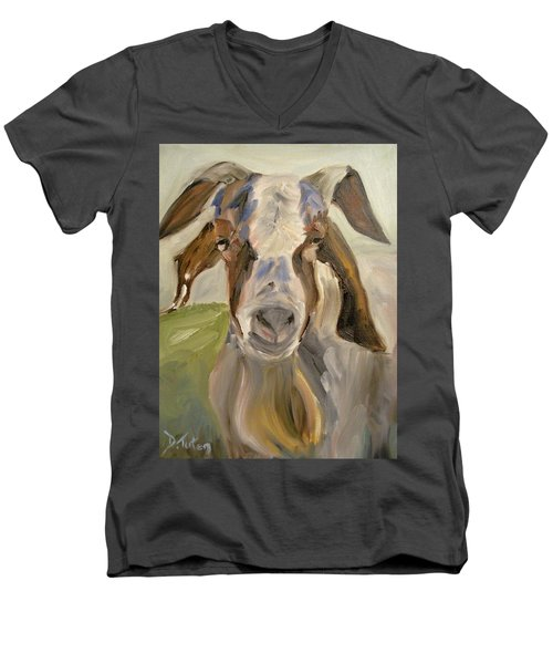 Men's V-Neck T-Shirt featuring the painting Billy by Donna Tuten