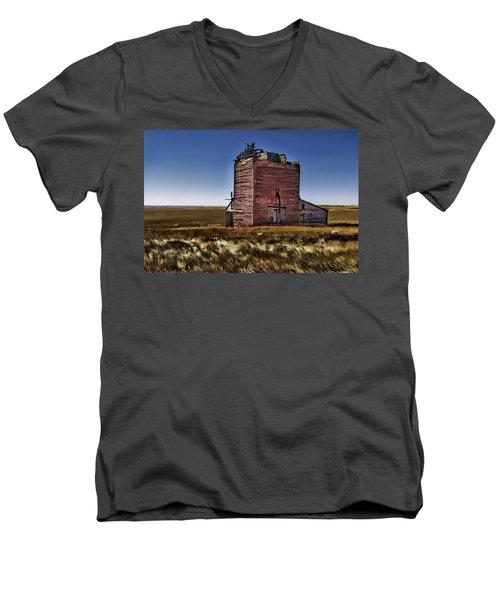 Men's V-Neck T-Shirt featuring the painting Bingo Grain Co by Muhie Kanawati